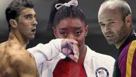Simone Biles, Michael Phelps y Andrés Iniesta, en un fotomontaje