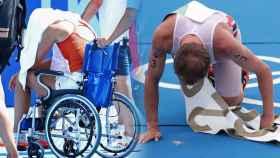 Paula Badosa, en silla de ruedas, y Kristian Blummenfelt, vomitando, en un fotomontaje