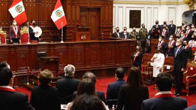 Acto de investidura del nuevo gobernante peruano, el izquierdista Pedro Castillo.