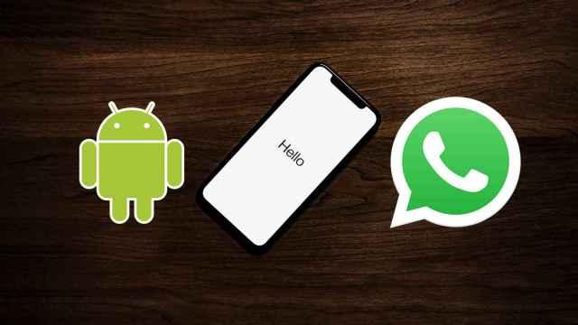 WhatsApp y Android junto a un smartphone.