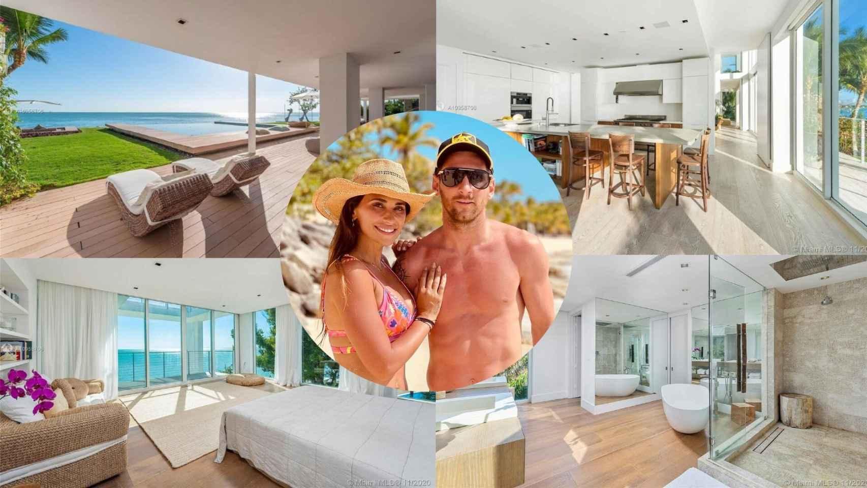 Algunas de las estancias de la mansión de Miami y una imagen de Antonela Rocuzzo y Leo Messi, en un montaje de JALEOS.