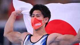 Daiki Hashimoto tras ganar el oro en gimnasia artística en los JJOO de Tokio 2020