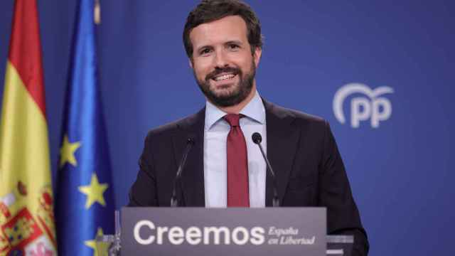 Pablo Casado en su rueda de prensa.
