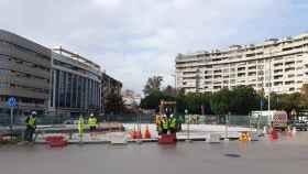 Plaza de la Solidaridad, en Málaga, al inicio de las obras.