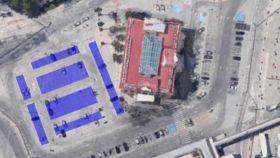 Zona donde quedarán instaladas las placas fotovoltaicas, junto a la sede del Puerto de Málaga.