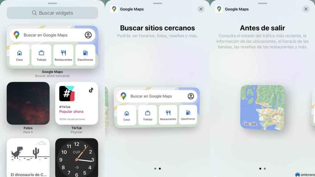 Widget de Google Maps en iPhone