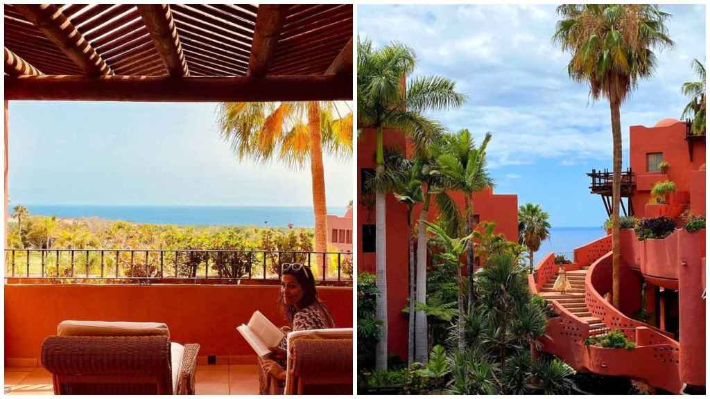 A la izquierda, Nuria Roca, desde la terraza de su habitación.  A la derecha, una vista de la edificación.