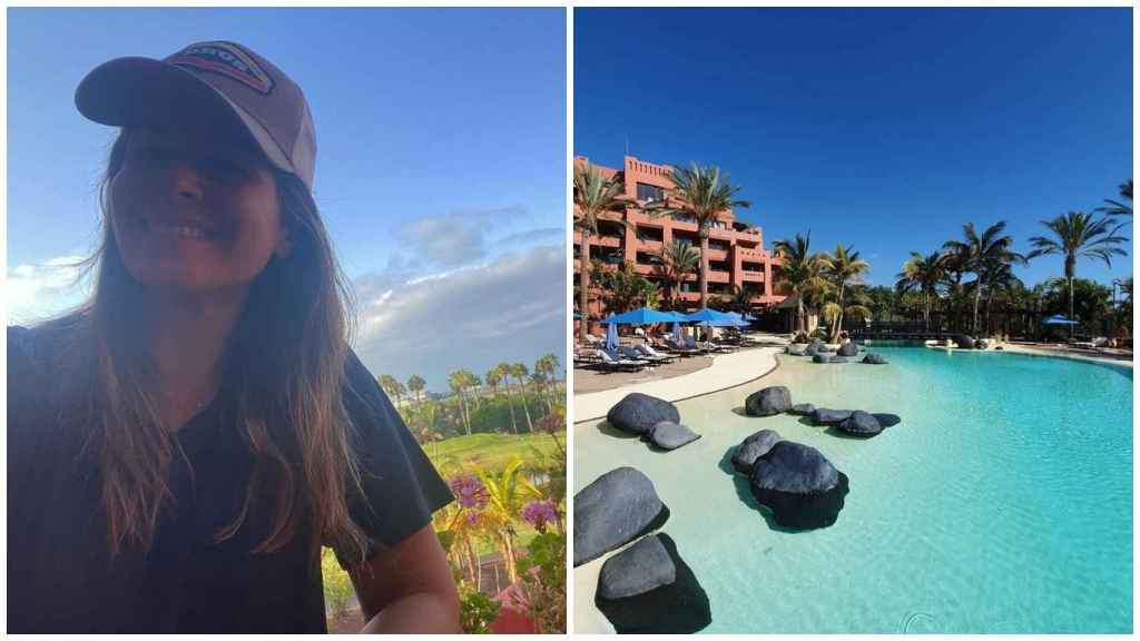 A la izquierda, una imagen comartida por la presentadora, desde el hotel. A la derecha, una de las siete piscinas.