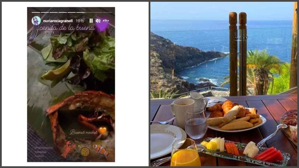 A la izquierda, 'story' compartido por Nuria en el que muestra su cena.  A la derecha,  una de las posibilidades gastronómicas del hotel.