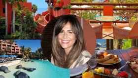 Nuria Roca, junto a algunas imágenes del hotel en el que se está alojando.