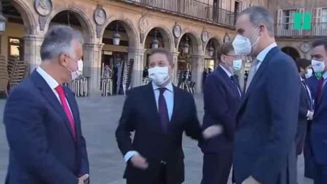 Felipe VI y Page bromeando (Foto: Captura vídeo Huffington Post)