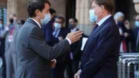 El presidente de la Junta de Castilla y León, Alfonso Fernández Mañueco, y Ximo Puig, conversan a su llegada a la XXIV Conferencia de Presidentes.