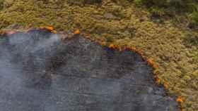 Incendio forestal en Brasil a vista de dron.