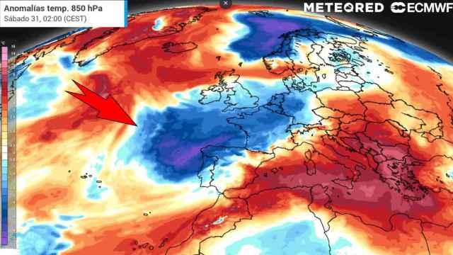 La masa de aire frío que afecta a España. Meteored.