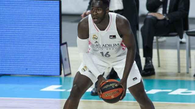 Usman Garuba durante un partido de esta temporada con el Real Madrid de baloncesto