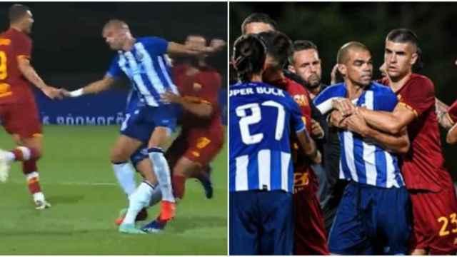 Agresión de Pepe en un partido entre el Oporto y la Roma