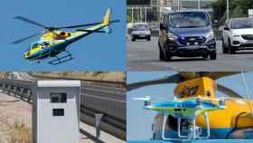 Un helicóptero-radar de la DGT, una furgoneta, un rada fijo y un dron.
