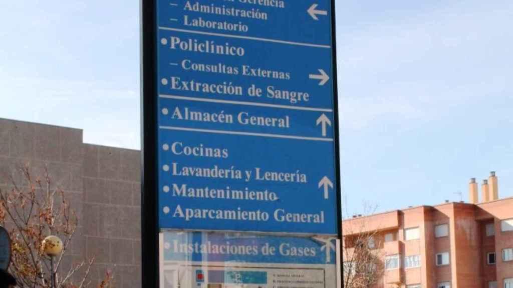 Cartel del Hospital Virgen de la Luz de Cuenca, donde han sido trasladados los heridos