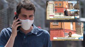 Iker Casillas en montaje de JALEOS junto a dos momentos de su encontronazo con una reportera de Telecinco.