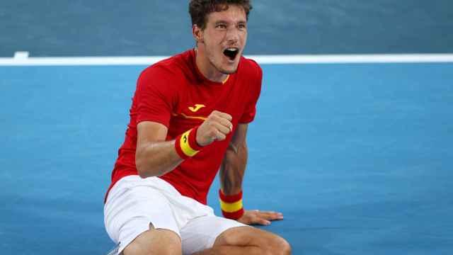 Pablo Carreño celebra su victoria ante Djokovic