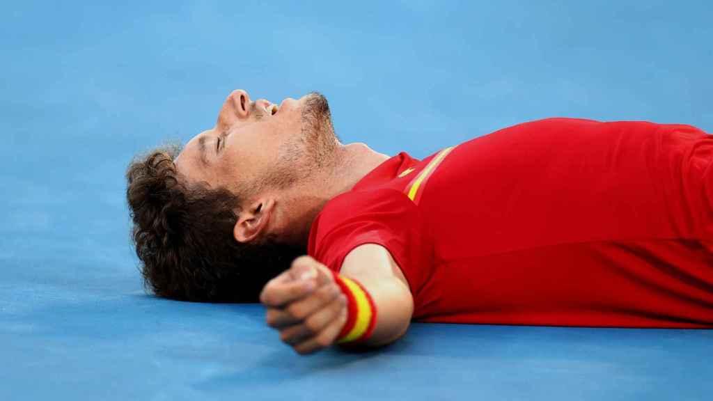 Pablo Carreño, agotado tras ganar el bronce ante Djokovic