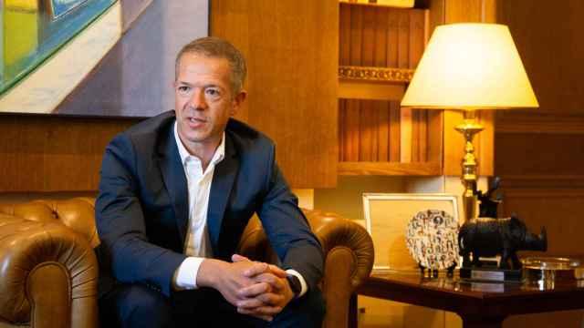El presidente del Senado, Ander Gil, en un momento de la entrevista.