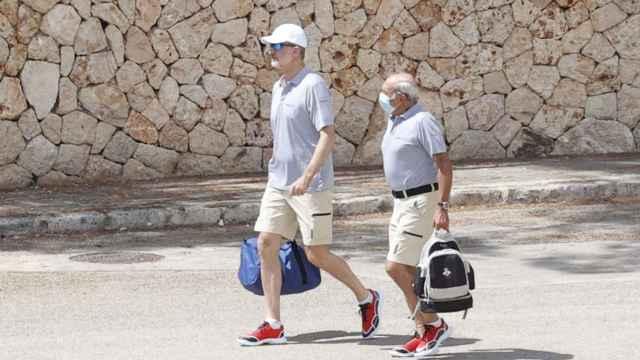 Felipe VI llegando a la estación militar de Porto Pi, en Mallorca.