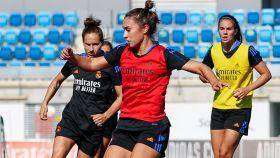 Nahikari García, en un entrenamiento del Real Madrid Femenino