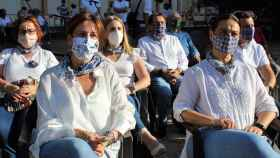 La consejera portavoz del Gobierno de Castilla-La Mancha, Blanca Fernández, este sábado en Ciudad Real junto a la alcaldesa, Eva Masías