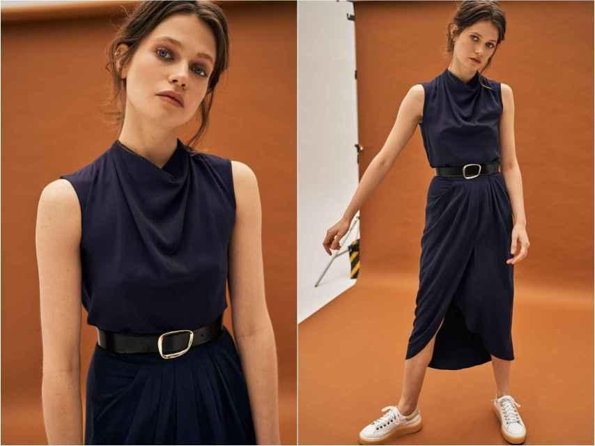 Modelo vestida con 'outfit' dos piezas de Galcon Studio.