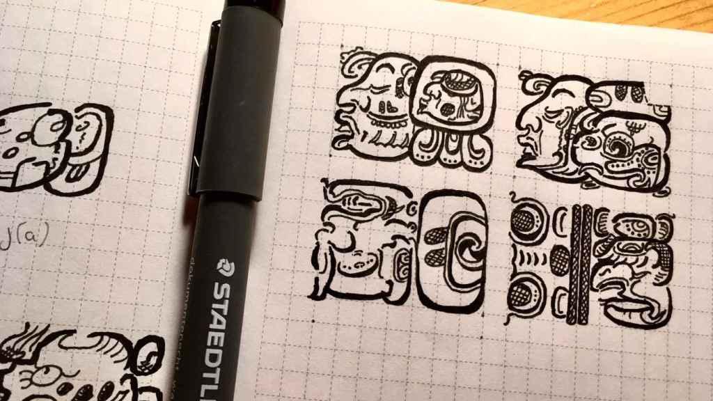 Un dibujo de Marina Escolano tratando de dibujar uno de los 96 Glifos de Palenque.