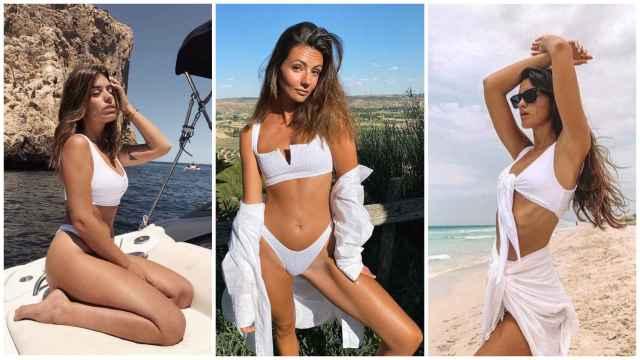 Las 'influencers' Dulceida, Aretha y Marta Lozano con bikinis blancos de Ônne.