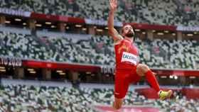 Eusebio Cáceres, en la final de triple salto de los Juegos Olímpicos de Tokio 2020