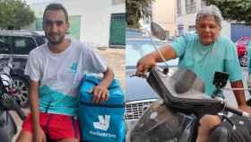 A la izquierda, Soufiane Fajro y, a la derecha, Sebastián Honorato, dos 'riders' a los que Deliveroo despedirá.