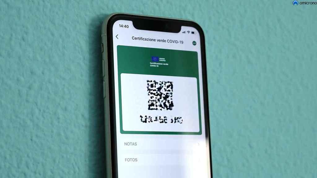 iPhone con el certificado COVID