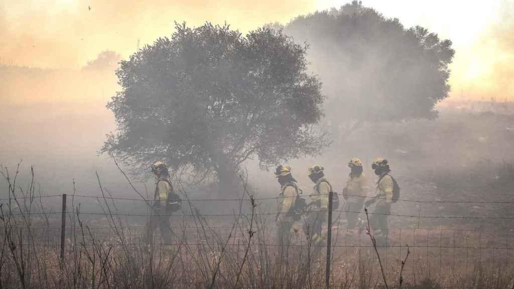 Miembros del Infoca en el incendio de la semana pasada en Villarrasa (Huelva)