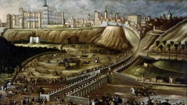 'Vista del Alcázar Real y entorno del Puente de Segovia'. Anónimo, hacia 1670