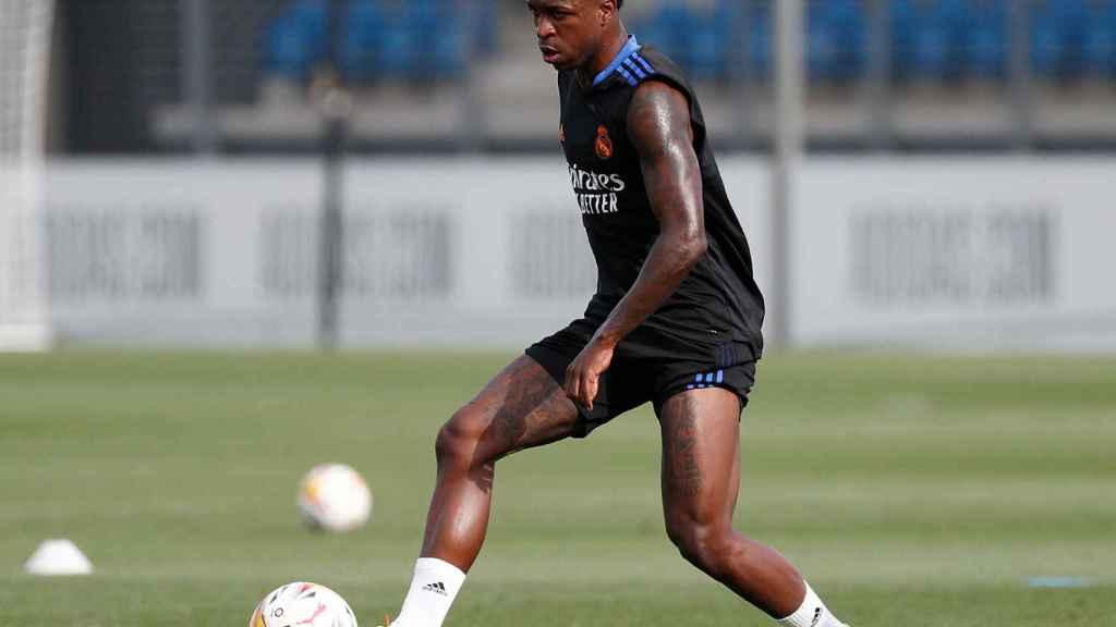Vinicius, durante el entrenamiento del Real Madrid