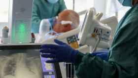 Imagen de los pulmones de un paciente enfermo de Covid en el Hospital del Mar, en Barcelona.