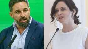 Santiago Abascal, presidente de Vox, e Isabel Díaz Ayuso, presidenta de la Comunidad de Madrid.