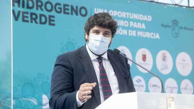 Fernando López Miras, presidente de la Región de Murcia, durante la presentación de la plataforma.