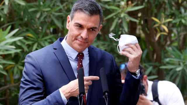 Pedro Sánchez, durante la rueda de prensa de este martes en el Palacio de Marivent.