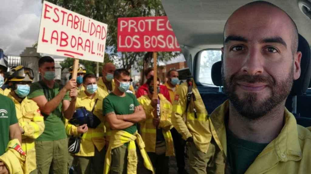 Juan Ramos, en un fotomontaje junto a unas protestas de sus compañeros.