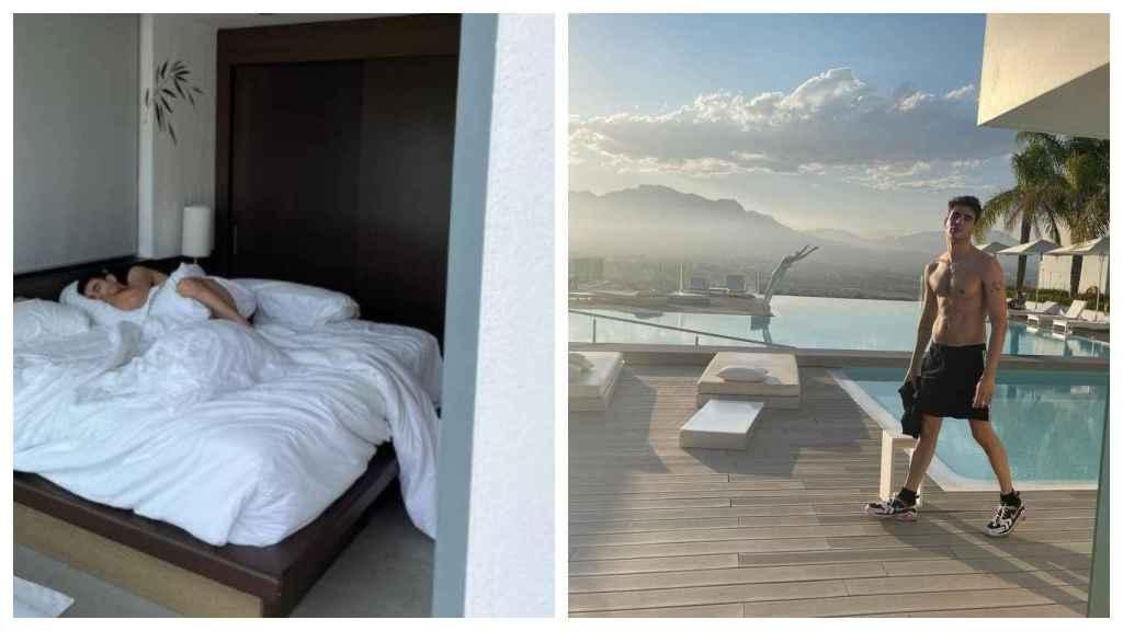 Una vista de la habitación donde ha descansado al pareja, a la izquierda. A la derecha, Javi Calvo, con el espectacular paisaje detrás.