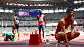 Asier Martínez tras la semifinal de los 110 metros vallas en los Juegos Olímpicos de Tokio 2020