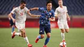 Take Kubo en el partido contra España en los JJOO de Tokio 2020