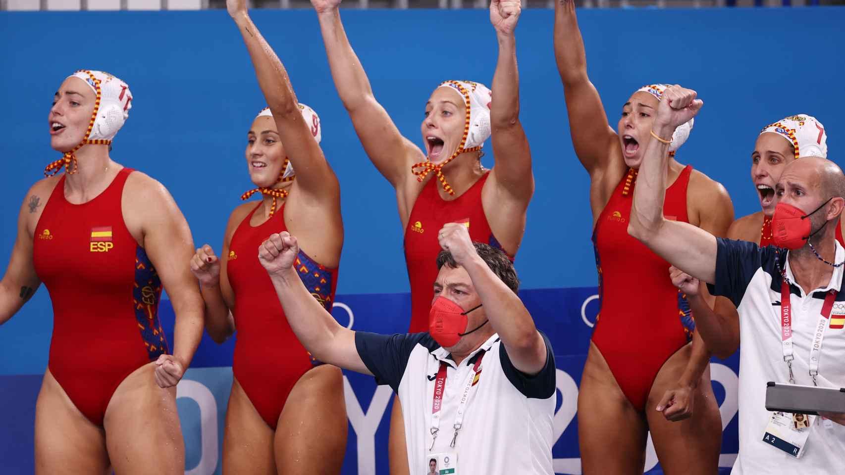Las jugadoras de la selección española de waterpolo femenino, en los Juegos Olímpicos