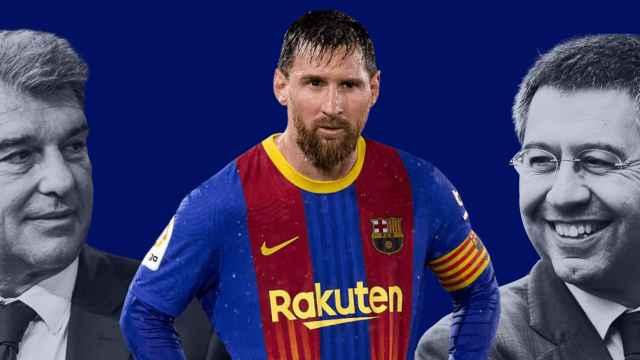 Montaje de Bartomeu, Messi y Laporta