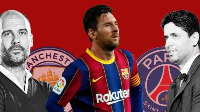 Montaje fotográfico de Leo Messi con Pep Guardiola y el City, y Nasser Al-Khelaifi y el PSG