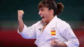 Sandra Sánchez, celebrando su victoria en los Juegos Olímpicos